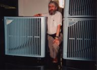 Norm Jaffe between two HP V-series cabinets